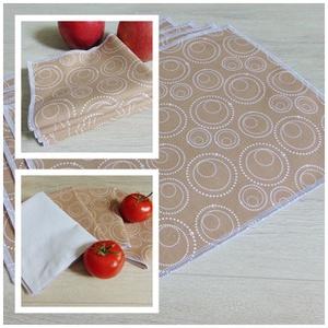 """Konyhai textil törlőkendő csomag ( 4 db/ csomag ) / papírmentes, \"""" nem szilvia\"""" konyhai törlőkendő, Konyharuha & Törlőkendő, Konyhafelszerelés, Otthon & Lakás, Varrás, - Konyhai textil törlőkendő csomag\n- világosbarna alapon fehér karika mintás mintás\n- kiváló nedvszí..., Meska"""