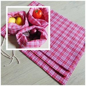 Zöldség-gyümölcs textil zsák /3 db-os textil zsák csomag,  pink kockás / ökozsák, bevásárló zsák, környezetbarát zacskó, Zöldség/Gyümölcs zsák, Bevásárlás & Shopper táska, Táska & Tok, Varrás, Környezetbarát, gyümölcsös, zöldséges bevásárló tasakok\n- pink kockás\n- többször használható\n- strap..., Meska