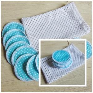 Arctisztító korong tasival ( 12 db ) / textil sminktörlő korong.  Többször használható arctisztító pamacs, NoWaste, Textilek, Pamut arctisztító, Varrás, -Többször felhasználható, egyedi, puha, textil arctisztító korongok, zsákocskával.\n-türkiz kék- fehé..., Meska