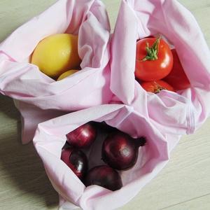 Zöldség- gyümölcs textil zsák csomag (3 db/ cs)  / ökozsák, bevásárló zsák, környezetbarát zacskó, Zöldség/Gyümölcs zsák, Bevásárlás & Shopper táska, Táska & Tok, Varrás, Környezetbarát, gyümölcsös, zöldséges bevásárló tasakok\n- rózsaszín\n- többször használható\n- strapab..., Meska