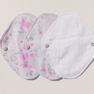 Tisztasági betét-  szürke-rózsa mintás ( 3 db/ cs )/ mosható textil betét (ChristieHomemade) - Meska.hu