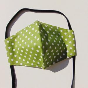 Zöld- fehér pöttyös mintás szájmaszk (16 cm magas) / textil szájmaszk, többször használható szájmaszk, Maszk, Arcmaszk, Női, Varrás, Zöld alapon fehér pöttyös mintás, textil szájmaszk.\nTöbbször használatos, környezetbarát.\nA külső an..., Meska