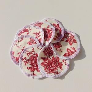 Arctisztító korongok ( 6 db/ cs ) / textil sminktörlő korong.  Többször használható arctisztító pamacs, Szépségápolás, Arcápolás, Arctisztító korong, Varrás, -Többször felhasználható, egyedi, puha, textil arctisztító korongok.\n-bordó virágok\n-mosható, tisztí..., Meska