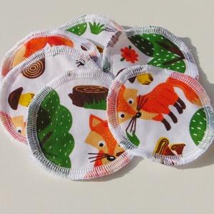 Arctisztító korongok ( 6 db/ cs ) / textil sminktörlő korong.  Többször használható arctisztító pamacs, Szépségápolás, Arcápolás, Arctisztító korong, Varrás, -Többször felhasználható, egyedi, puha, textil arctisztító korongok.\n-róka mintás\n-mosható, tisztíth..., Meska