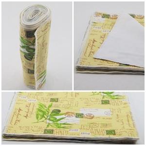 """Konyhai textil törlőkendő csomag ( 8 db/ csomag ) / papírmentes, \"""" nem szilvia\"""" konyhai törlőkendő, Otthon & Lakás, Konyhafelszerelés, Konyharuha & Törlőkendő, Varrás, - Konyhai textil törlőkendő csomag\n- oliva és postai felirat mintás\n- kiváló nedvszívó, mintás pamut..., Meska"""