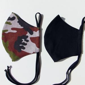 Terepmintás szájmaszk csomag 2 db/cs (18 cm magas) / textil szájmaszk, többször használható szájmaszk, Maszk, Arcmaszk, Férfi & Uniszex, Varrás, Fekete és barna terepmintás textil szájmaszk csomag. \nA csomag 2 db maszkot tartalmaz.\nTöbbször hasz..., Meska