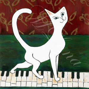 Zongorán sétáló cica, Képzőművészet, Otthon & lakás, Lakberendezés, Napi festmény, kép, Esküvő, Nászajándék, Festészet, Mindenmás, Ez a mutatós táblakép az elegáns szegélyével tetszetősé teszi a helyiségünket, ami bármilyen stílusú..., Meska