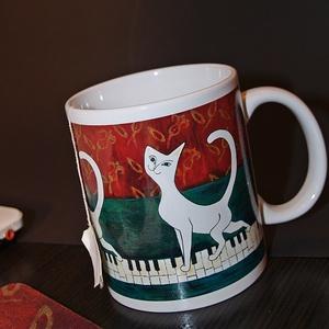 Macska kedvelőknek  kerámia bögre cicás, Konyhafelszerelés, Otthon & lakás, Bögre, csésze, Táska, Divat & Szépség, Fotó, grafika, rajz, illusztráció, Kerámia,  Cica imádók előnyben ;)\n A reggeli ébredést segíti ez a vidám cicus, hosszú kávét, teát kortyolgatv..., Meska