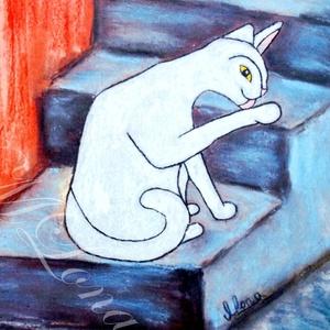 Fehér Macska ebéd után (nagy táblakép), Művészet, Művészi nyomat, Festészet, Mindenmás, Saját készítésű festményem után, amely pasztell krétával készült. Ez a  nyomat lett felkasírozva (a ..., Meska