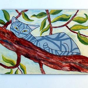Lustálkodó macska (nagy tábla kép), Festmény vegyes technika, Festmény, Művészet, Mindenmás, Festészet,  Saját készítésű festményem után készült nyomat lett felkasírozva (a felület kezelve van) 10 mm-es M..., Meska
