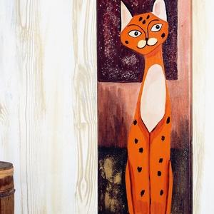 Szavanna macska, Akril, Festmény, Művészet, Festészet, Mindenmás, Vászonra készült, akril festékkel készített gyönyörű,színes festmény.\nVegyes technika alkalmazásával..., Meska