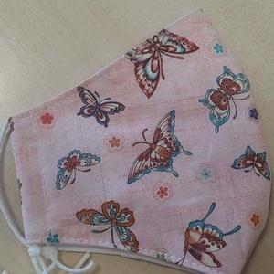 Szájmaszk dróttal 3 rétegű textilből, Táska, Divat & Szépség, Szépség(ápolás), Maszk, szájmaszk, Egészségmegőrzés, NoWaste, Varrás, 3 rétegű, rózsaszínű alapon gyönyörű pillangós mintás  pamutvászonból készült szájmaszk extra puha g..., Meska