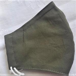 Szájmaszk dróttal 3 rétegű textilből, Táska, Divat & Szépség, Szépség(ápolás), Maszk, szájmaszk, Egészségmegőrzés, NoWaste, Varrás, 3 rétegű, egyszínű sötét oliv zöld 100 %  pamutvászonból készült szájmaszk extra puha gumival. A fel..., Meska