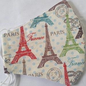 Szájmaszk dróttal 3 rétegű textilből, Táska, Divat & Szépség, Szépség(ápolás), Maszk, szájmaszk, Egészségmegőrzés, NoWaste, Varrás, 3 rétegű, ecrü alapon halványkék pöttyös és Eiffel-torony mintás 100 %  pamutvászonból készült szájm..., Meska