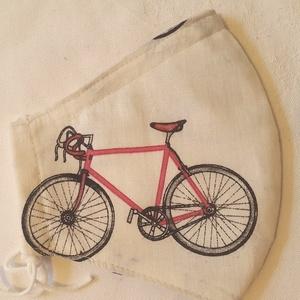 Szájmaszk dróttal 3 rétegű textilből, Táska, Divat & Szépség, Szépség(ápolás), Maszk, szájmaszk, Egészségmegőrzés, NoWaste, Varrás, 3 rétegű (kérésre 2 rétegű változatban küldöm), ecrü alapon biciklis mintás 100 % pamutvászonból kés..., Meska