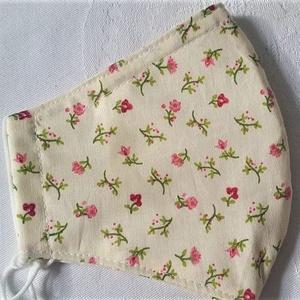 Szájmaszk dróttal 3 rétegű textilből, Táska, Divat & Szépség, NoWaste, Szépség(ápolás), Maszk, szájmaszk, Egészségmegőrzés, Varrás, 3 rétegű (kérésre 2 rétegű változatban küldöm), ecrü alapon apró virág mintás 100 % pamutvászonból ..., Meska
