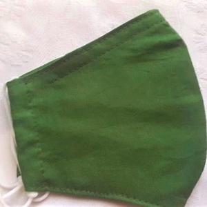 Szájmaszk dróttal 3 rétegű textilből, Táska, Divat & Szépség, Szépség(ápolás), Maszk, szájmaszk, Egészségmegőrzés, NoWaste, Varrás, 3 rétegű, egyszínű középzöld 100 %  pamutvászonból készült szájmaszk extra puha gumival. A felső szé..., Meska