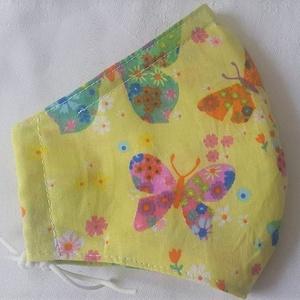 Szájmaszk dróttal 3 rétegű textilből, Táska, Divat & Szépség, Szépség(ápolás), Maszk, szájmaszk, Egészségmegőrzés, NoWaste, Varrás, 3 rétegű, halványsárga alapon színes pillangós-virágos mintás 100 % pamutvászonból készült szájmaszk..., Meska