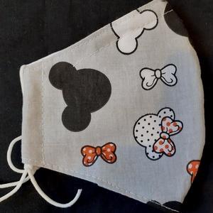 Szájmaszk dróttal 3 rétegű textilből, Táska, Divat & Szépség, NoWaste, Szépség(ápolás), Maszk, szájmaszk, Egészségmegőrzés, Varrás, 3 rétegű, szürke alapon Minnie mintás 100 % pamutvászonból készült szájmaszk extra puha gumival. A ..., Meska