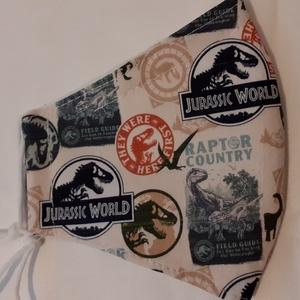 Gyerek szájmaszk dróttal 3 rétegű , Ruha & Divat, Maszk, Arcmaszk, Gyerek, Varrás, 3 rétegű, Jurassic park mintás 100 % pamut designer vászonból készült szájmaszk extra puha gumival. ..., Meska