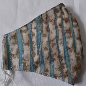 Szájmaszk dróttal 3 rétegű textilből, Maszk, Arcmaszk, Női, Varrás, 3 rétegű, világoskék alapon táli nyárfatörzs mintás 100 % pamut designer textilből készült szájmaszk..., Meska