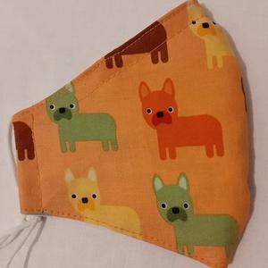Szájmaszk dróttal 3 rétegű textilből, Maszk, Arcmaszk, Női, Varrás, 3 rétegű, narancs alapon színes kutyás mintás 100 % pamut designer textilből készült szájmaszk extra..., Meska