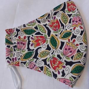Szájmaszk dróttal 3 rétegű textilből, Maszk, Arcmaszk, Női, Varrás, 3 rétegű,rajzolt virágmintás 100 % pamut designer textilből készült szájmaszk extra puha gumival. A ..., Meska