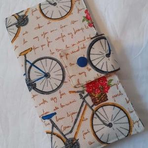 Biciklis mintás pénztárca, Táska & Tok, Pénztárca & Más tok, Pénztárca, Varrás, Erős külső vászonból készült pénztárca. Belülre készítettem 6 db kártyatartó rekeszt, 2 mélyebb zseb..., Meska