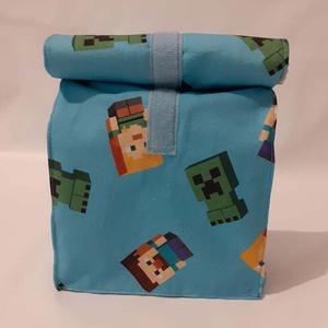 Minecraft mintás uzsonnás tasak, belül vízhatlan, Táska & Tok, Uzsonna- & Ebéd tartó, Szendvics csomagoló, Varrás, Uzsonnacsomagolás hulladék nélkül. :) Elfelejthetjük a papírszalvétát, alufóliát, nylon zacskót.  A ..., Meska