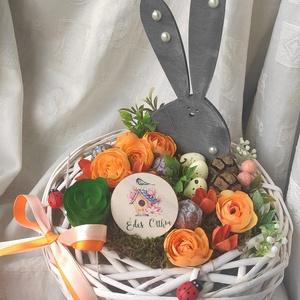 Húsvéti nyuszi / tavaszi asztaldísz, Otthon & Lakás, Dekoráció, Asztaldísz, Mindenmás, Az én abszolút kedvenc figurám megérkezett erre a gyönyörű tojásos, szatén begónia fejes, tavaszi as..., Meska
