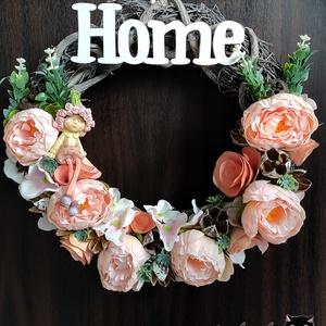 HOME Tavaszi / nyári ajtókoszorú, kopogtató, dísz, Otthon & Lakás, Dekoráció, Ajtódísz & Kopogtató, Mindenmás, Barack rózsaszín ajtódísz - akár Anyák napjára :) \nÁtmérő: 28 cm!\n, Meska