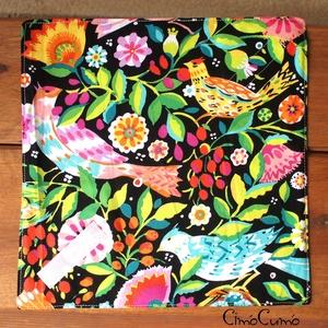 Paradise - textil-PUL uzsonnás szalvéta , Konyhafelszerelés, Otthon & lakás, Lakberendezés, Lakástextil, Varrás, Fekete alapon csodás élénk virág- és madárkamintás designer pamutvászonból és vízhatlan PUL textilbő..., Meska