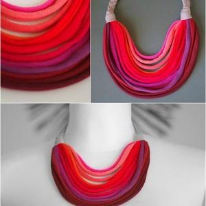 BASIC pink/lazac/narancs/bordó sokszálas nyaklánc - textilékszer (cirrhopp) - Meska.hu