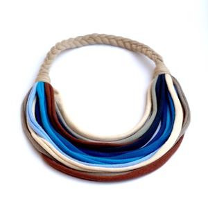 Acélkék/bézs/kék BASIC nyaklánc (cirrhopp) - Meska.hu