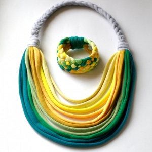 Zöld/sárga BASIC nyaklánc + Tribequa karkötő  (cirrhopp) - Meska.hu