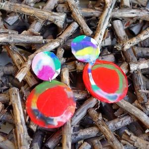 Plabodot Precious Plastic FUSION fülbevaló - piros, Ékszer, Fülbevaló, Ékszerkészítés, Újrahasznosított alapanyagból készült termékek, Kb 7*4cm-es, fura alakú, pillesúlyú, HDPE (High-density polyethylene - nagy sűrűségű polietilén. A H..., Meska