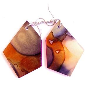 Plabodot FLOW fülbeavló 108 - M-es , Lógós fülbevaló, Fülbevaló, Ékszer, Ékszerkészítés, Újrahasznosított alapanyagból készült termékek, A kézzel készített rozsdamentes acél szerelékkel felruházott, festett, geometrikus alakú fülbevaló (..., Meska