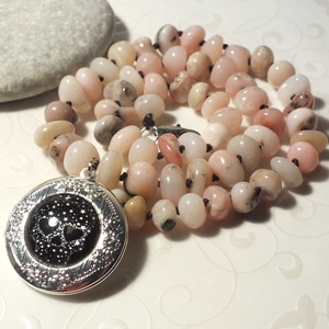 Perui pink opál nyaklánc üveglencsés nyitható medállal (citrom) - Meska.hu