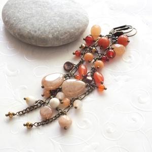x AKCIÓ! x Toscana... hosszú ásványgyöngyös bronz fülbevaló, Ékszer, Fülbevaló, Fülbevaló Vásár! Részletek a boltoldalon.  Különböző méretű és formájú narancs aventurin, karneol, a..., Meska