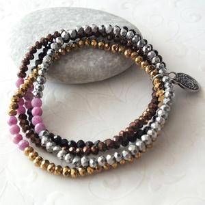 Négyszín rubinnal... valódi rubin - kristály gumis karkötő szett nemesacéllal, Ékszer, Karkötő, 4 mm-es fazettált valódi gyönyörű rubin drágakövekből, és 4 különböző színű 4 * 3 mm-es csiszolt kri..., Meska