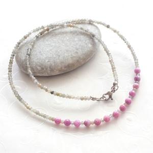 Rubin - labradorit acél nyaklánc, Nyaklánc, Ékszer, Medál nélküli nyaklánc, Ékszerkészítés, 4 mm-es fazettált valódi gyönyörű rubin drágakövekből, és pici fazettált 2,5 mm-es labradorit rondel..., Meska