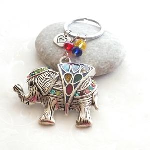 Elefántos kulcstartó, táskadísz, Táska & Tok, Kulcstartó & Táskadísz, Kulcstartó, Ékszerkészítés, Nagy mázas elefánt medál, és színes kristály gyöngyök díszítik a karikát, amit kulcstartónak és tásk..., Meska
