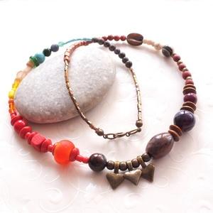 La Bohéme... ásványgyöngyös bronz nyaklánc, Ékszer, Nyaklánc, Gyöngyös nyaklác, Ékszerkészítés, Bohém, könnyű, színes nyaklánc ásvány - üveg - fa és lámpagyöngyökből, bronz szerelékkel.\nÁsványgyön..., Meska