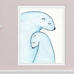 Jegesmedve anya és bocsa, gyerekszoba dekoráció, anya-gyerek szeretetről szóló kép, vízfestékkel készült falikép, , Kép & Falikép, Dekoráció, Otthon & Lakás, Festészet, Fotó, grafika, rajz, illusztráció, A jegesmedve anya és bocsát ábrázoló képet vízfestékkel készítettem, mely a szeretetet, az összetart..., Meska