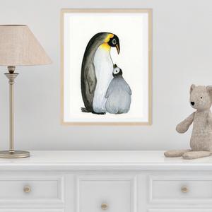 Anya-gyerek szeretet, pingvin anya-kölyök, gyerekszoba dekoráció, falikép, Anyák Napi ajándék, Gyereknapi ajándék, , Kép & Falikép, Dekoráció, Otthon & Lakás, Festészet, Fotó, grafika, rajz, illusztráció, Vízfestékkel készítettem a pingvin anya és a kis pingvin kapcsolatát bemutató képek. \n\nA kép kétféle..., Meska