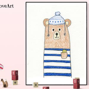 Maci vicces sapkában, gyerekszoba kép, dekoráció, letölthető kép, gyerekszoba dekoráció, medve apa, erdei állat, Gyerek & játék, Gyerekszoba, Baba falikép, Fotó, grafika, rajz, illusztráció, Vicces gyerekszobakép sapkás macival. A képet színes ceruzával készítettem, mely vidám színfolt lehe..., Meska