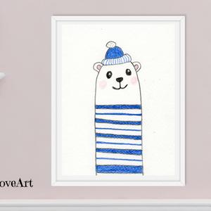 Vidám csíkos ruhás jeges maci, gyerekszoba dekoráció, vicces falikép, gyerekszoba kép, letölthető falikép, Otthon & lakás, Gyerek & játék, Gyerekszoba, Fotó, grafika, rajz, illusztráció, Vicces gyerekszobakép sapkás jeges macival. A képet színes ceruzával készítettem, mely kiváló ajándé..., Meska