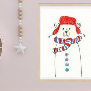 Piros sapkás maci, gyerekszoba falikép, vidám gyerekszoba kép macival.  letölthető falikép gyerekszobába, csíkos sálas, Gyerek & játék, Gyerekszoba, Baba falikép, Fotó, grafika, rajz, illusztráció, Vicces gyerekszobakép piros sapkás csíkos sálas macival. A képet színes ceruzával készítettem, mely ..., Meska