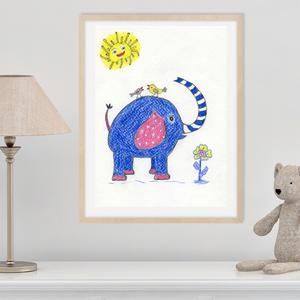 Vicces kék elefánt, gyerekszoba dekoráció, falikép gyerekszobába, Letölthető kép, elefánt  kismadarakkal, Kép & Falikép, Dekoráció, Otthon & Lakás, Fotó, grafika, rajz, illusztráció, Vicces gyerekszobakép kék elefánttal, madárkákkal. A képet színes ceruzával készítettem, mely vidám ..., Meska