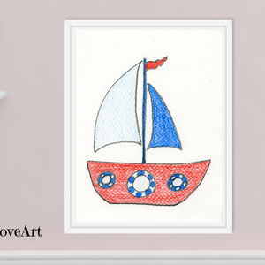 Színes vitorlás hajó gyerekszoba dekoráció, falikép gyerekszobába, letölthető digitális kép, fiú gyerekszoba kép, Gyerek & játék, Gyerekszoba, Baba falikép, Otthon & lakás, Dekoráció, Képzőművészet, Illusztráció, Kép, Fotó, grafika, rajz, illusztráció, Színes ceruzával készült tengeri hangulatú kép vitorlás hajóval, mely kiváló kép lehet fiú gyerekszo..., Meska